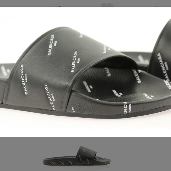 7706c14bed05 Balenciaga pool side logo slides.